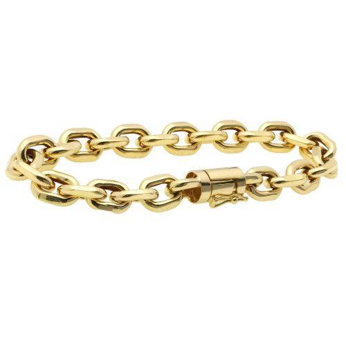 Pulseira em Ouro 18k/750 Malha Cartier Cadeado 22.5cm