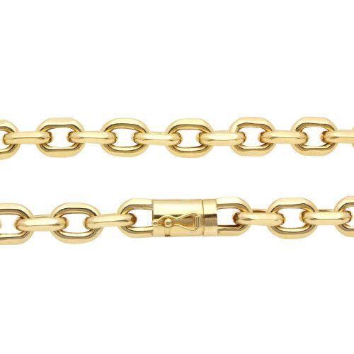 Corrente em Ouro 18k/750 Malha Cartier Cadeado Grossa 65cm