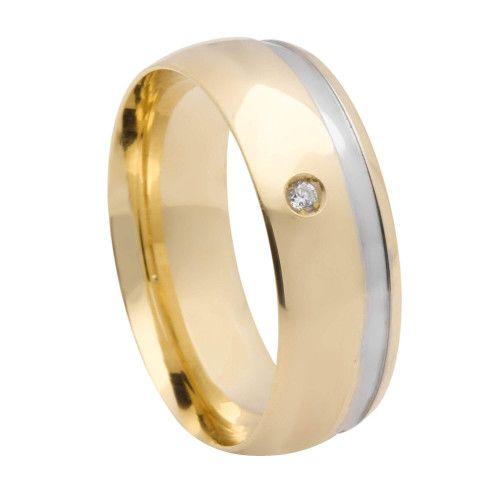 Aliança em Ouro 18k/750 Comfort com 1 pedra de Zircônia