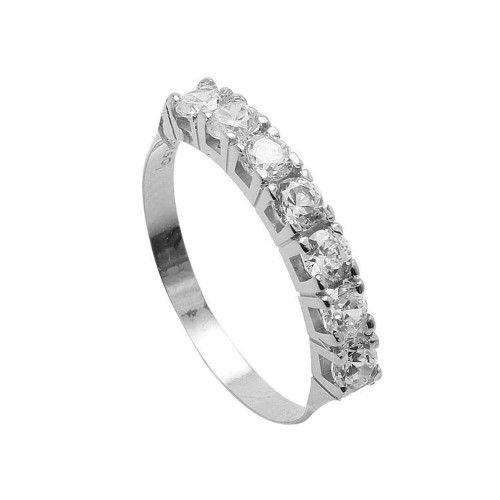 Anel em Ouro Branco 18k/750 Meia Aliança com Diamantes de 10 pontos