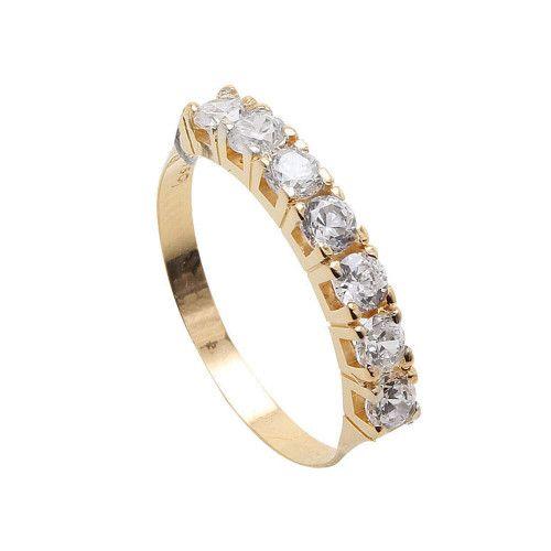 Anel em Ouro 18k/750 Meia Aliança com Diamantes de 10 pontos Amarelo