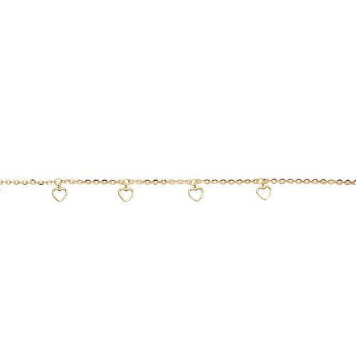 Pulseira em Ouro 18k/750 Malha Bailarina com Berloques de Coração 19,5cm