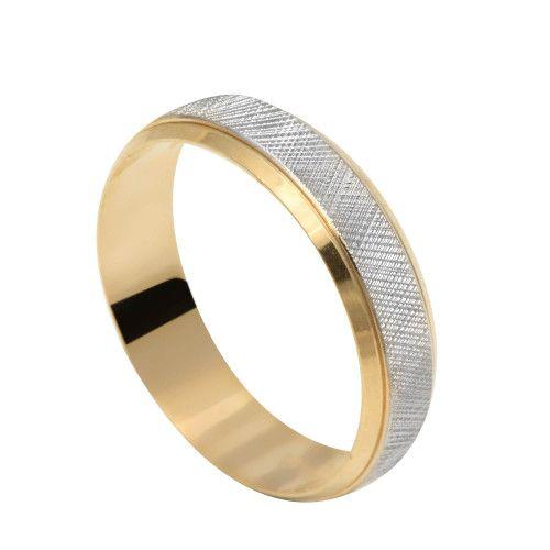 Aliança em Ouro 18k/750 Reta com Ouro Branco e Detalhes Diamatandos