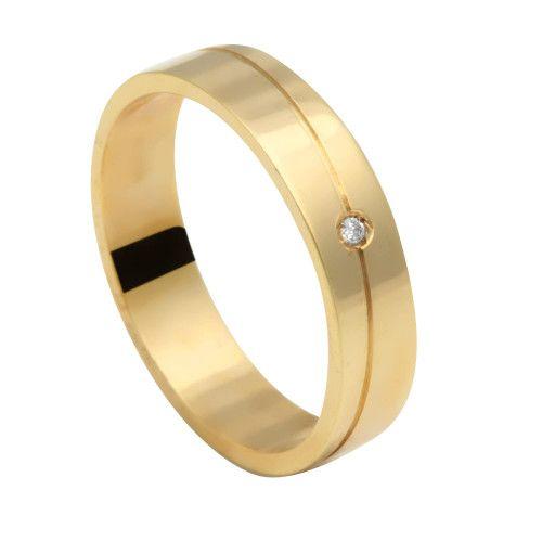 Aliança em Ouro 18k/750 Comfort 1 Pedra