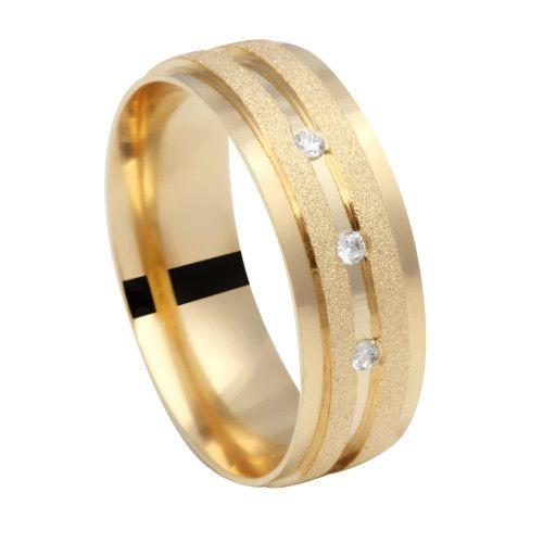 Aliança em Ouro 18k/750 Comfort com Pedras e Detalhes Diamantados