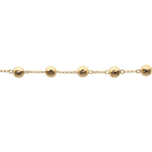 Pulseira em Ouro 18k/750 Bola 9mm Diamantada 20cm Amarela