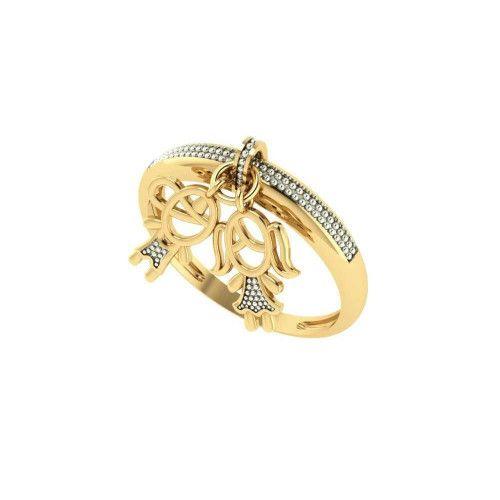 Anel em Ouro 18k/750 Casal Falsa Pedra com Pingente